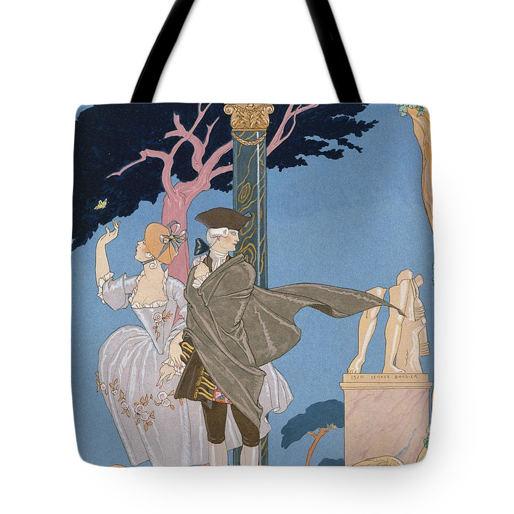 French Tote Bag featuring the painting Broken Hearts Broken Statues by Georges Barbier