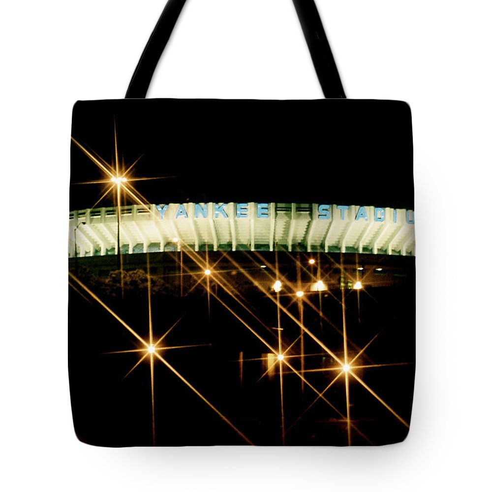 Yankee Stadium Photograph Tote Bag featuring the photograph Bronx Night Iv Yankee Stadium by Iconic Images Art Gallery David Pucciarelli