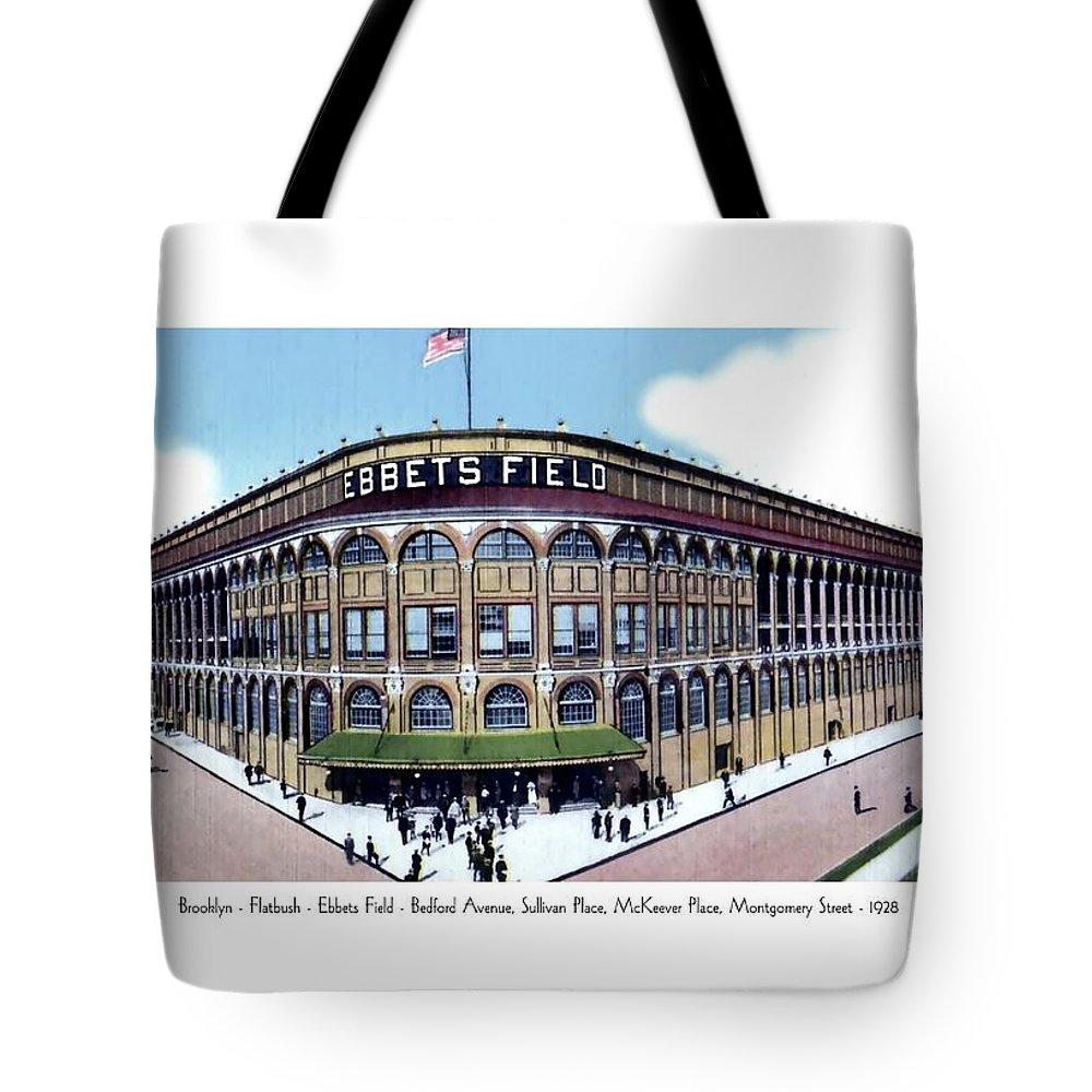 Detroit Tote Bag featuring the digital art Brooklyn - New York - Flatbush - Ebbets Field - 1928 by John Madison