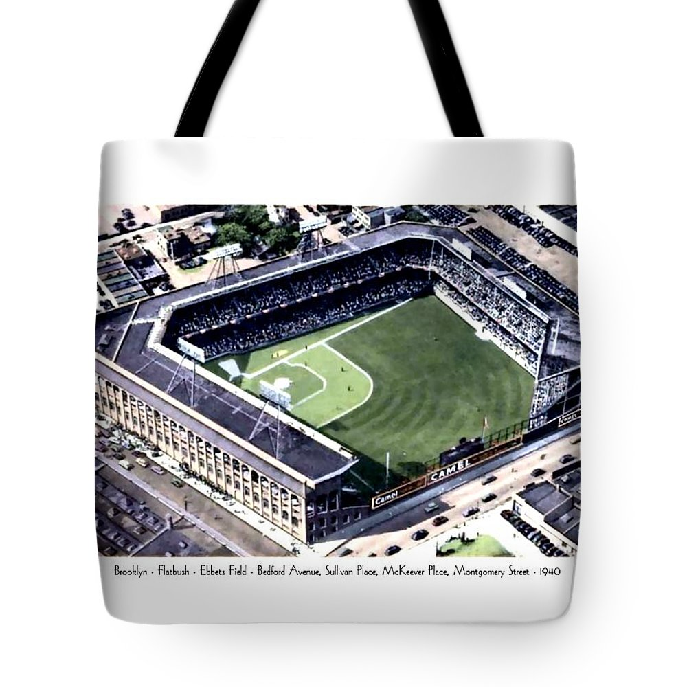 Detroit Tote Bag featuring the digital art Brooklyn - New York - Flatbush - Ebbets Field - 1940 by John Madison
