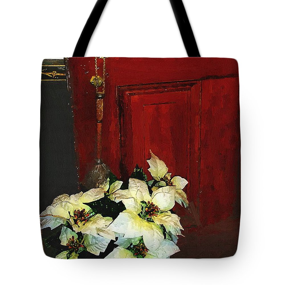 Antiques Tote Bag featuring the painting Broom Closet Christmas by RC DeWinter
