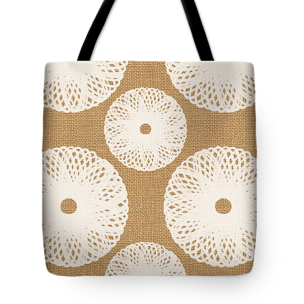 Floral Tote Bag featuring the painting Brown and White Floral by Linda Woods