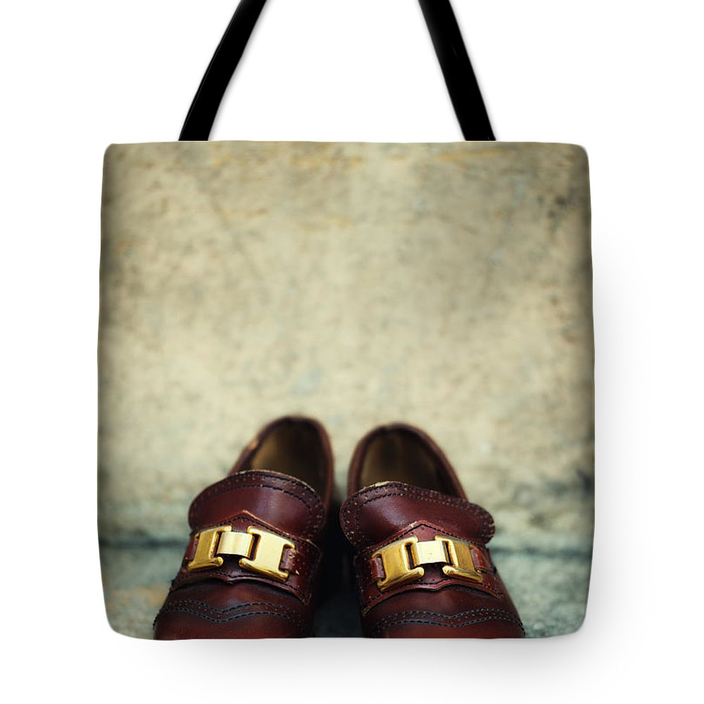 Vertical Tote Bag featuring the photograph Brown Children Shoes by Jaroslaw Blaminsky
