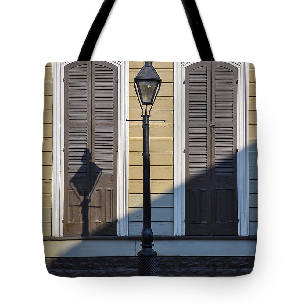 Brown Tote Bag featuring the photograph Brown Shutter Doors And Street Lamp - New Orleans by Bill Cannon