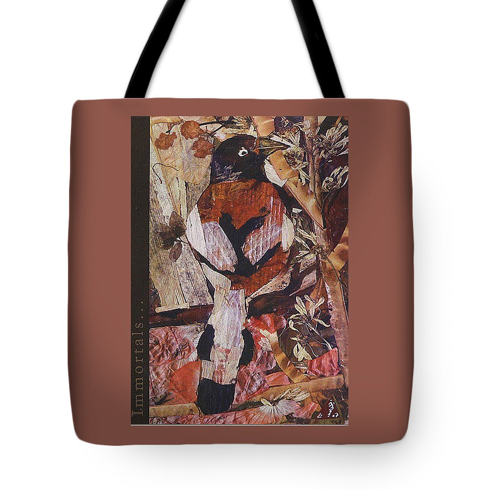 Brown-white-bird Tote Bag featuring the mixed media Brown- White Bird by Basant Soni