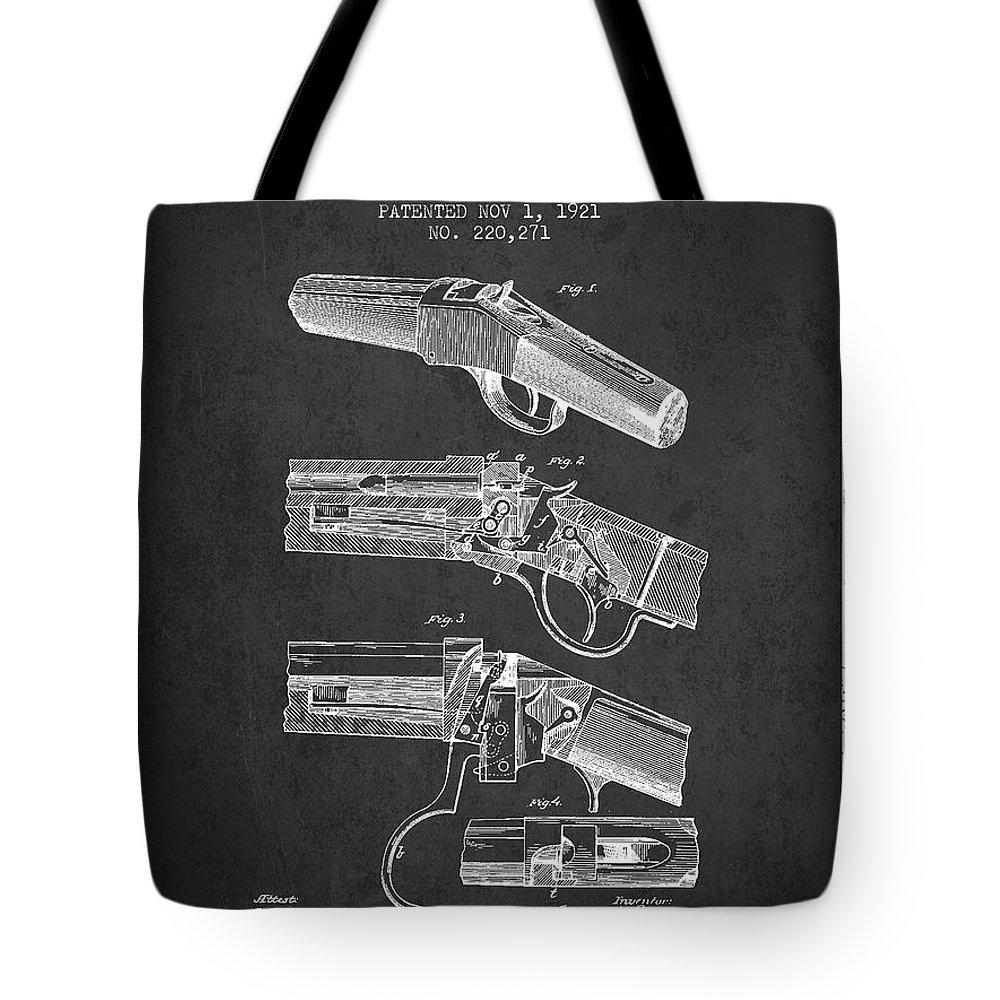 Rifle Patent Tote Bag featuring the digital art Browning Rifle Patent Drawing From 1921 - Dark by Aged Pixel