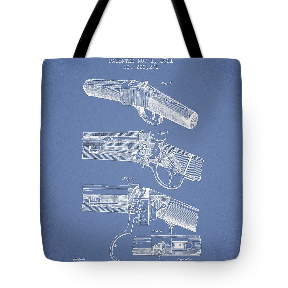 Rifle Patent Tote Bag featuring the digital art Browning Rifle Patent Drawing From 1921 - Light Blue by Aged Pixel