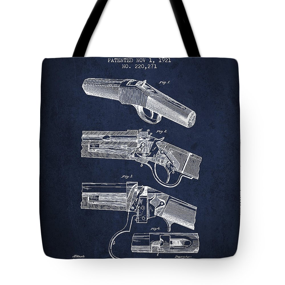 Rifle Patent Tote Bag featuring the digital art Browning Rifle Patent Drawing From 1921 - Navy Blue by Aged Pixel