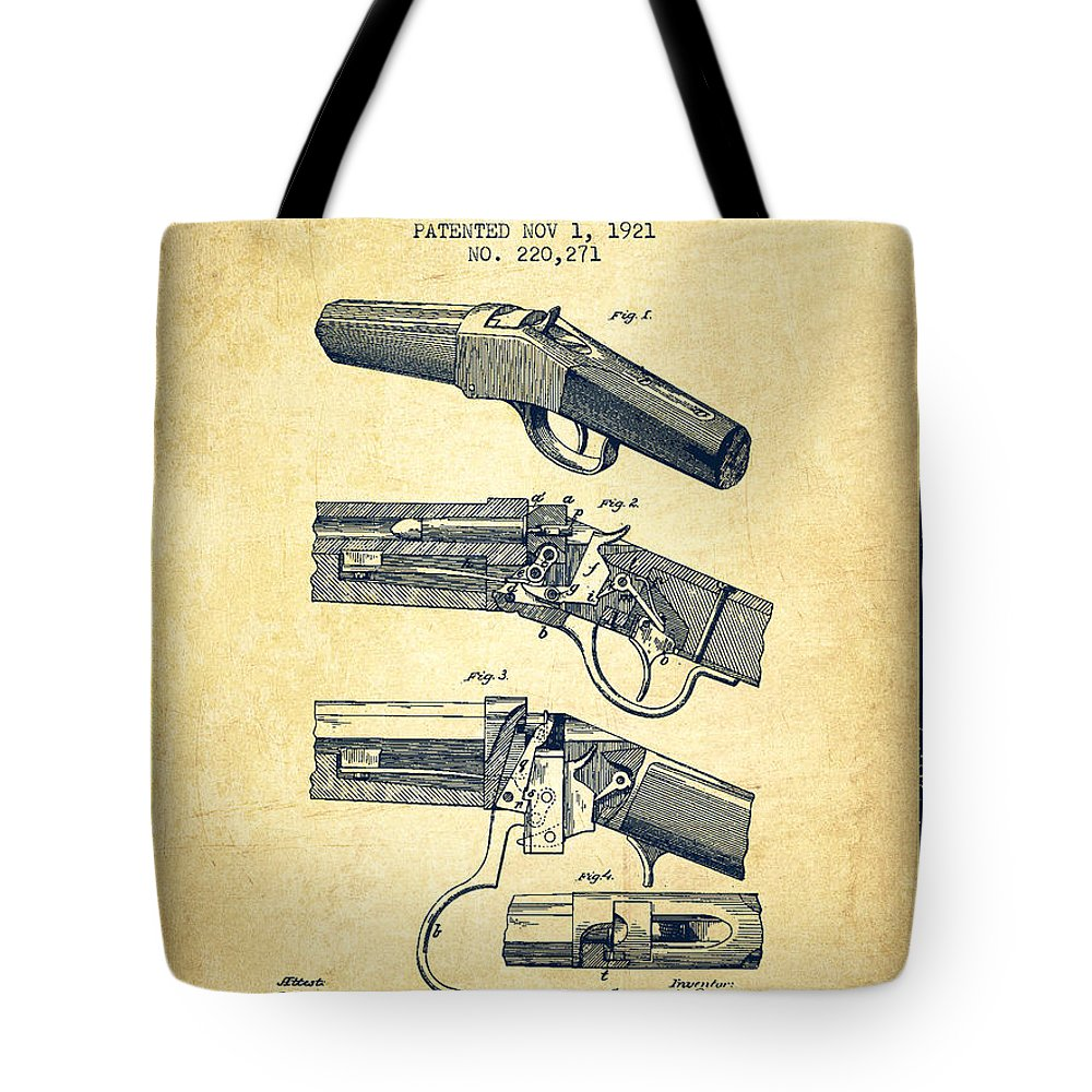 Rifle Patent Tote Bag featuring the digital art Browning Rifle Patent Drawing From 1921 - Vintage by Aged Pixel