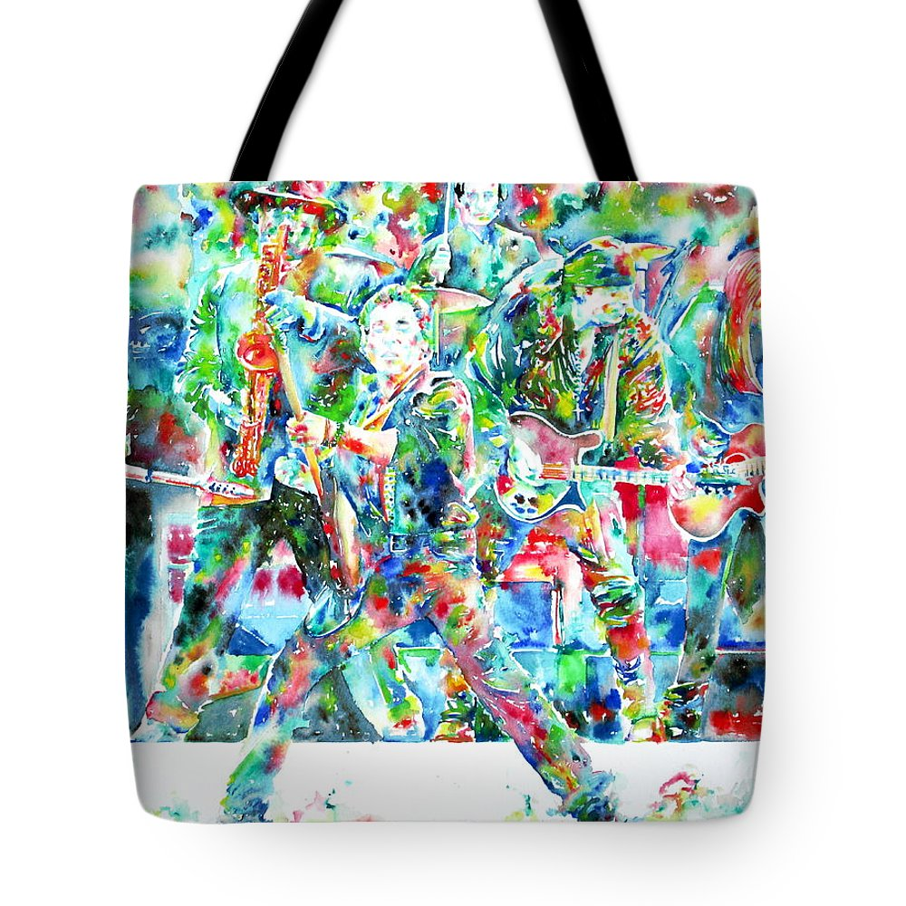 Bruce Tote Bag featuring the painting BRUCE SPRINGSTEEN and the E STREET BAND - watercolor portrait by Fabrizio Cassetta