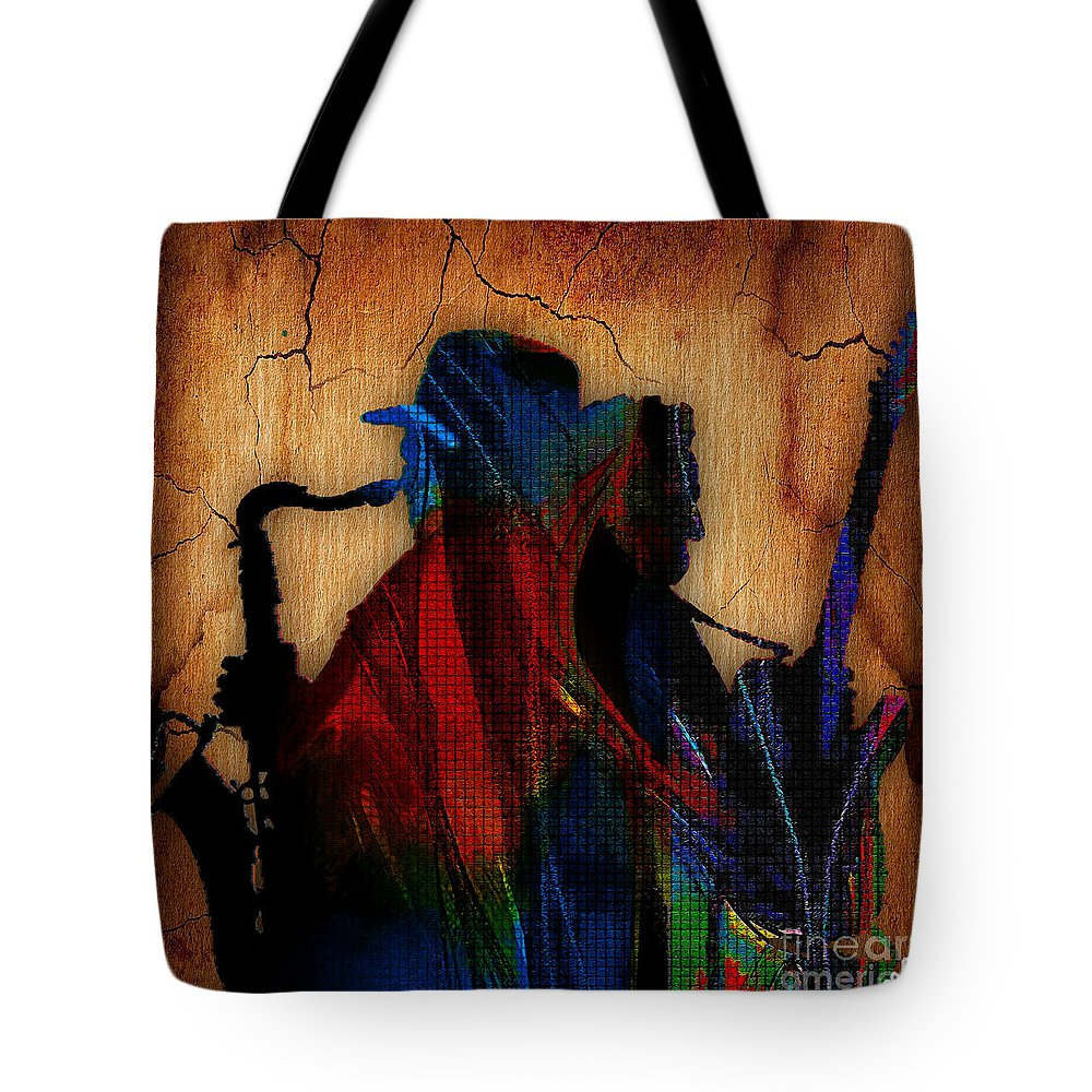 Bruce Springsteen Art Tote Bag featuring the mixed media Bruce Springsteen Collcetion by Marvin Blaine