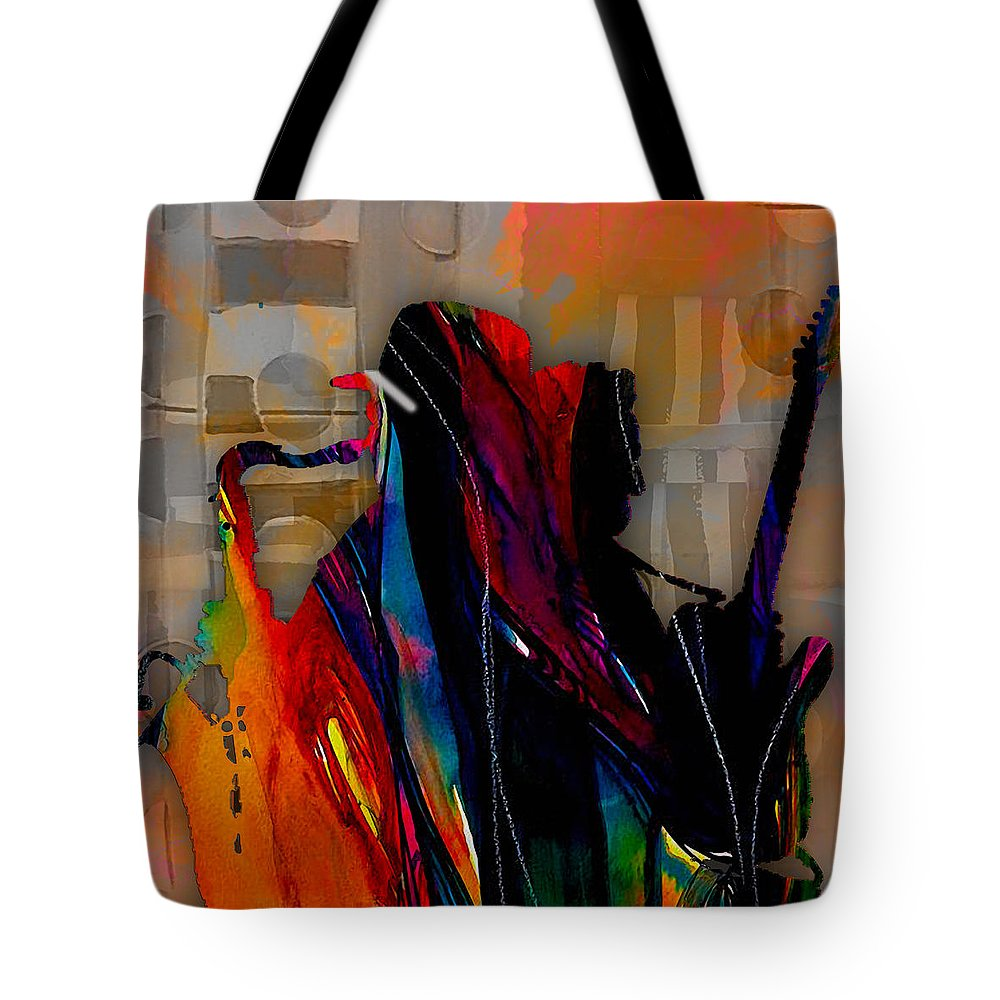 Bruce Springsteen Art Tote Bag featuring the mixed media Bruce Springsteen Collection by Marvin Blaine