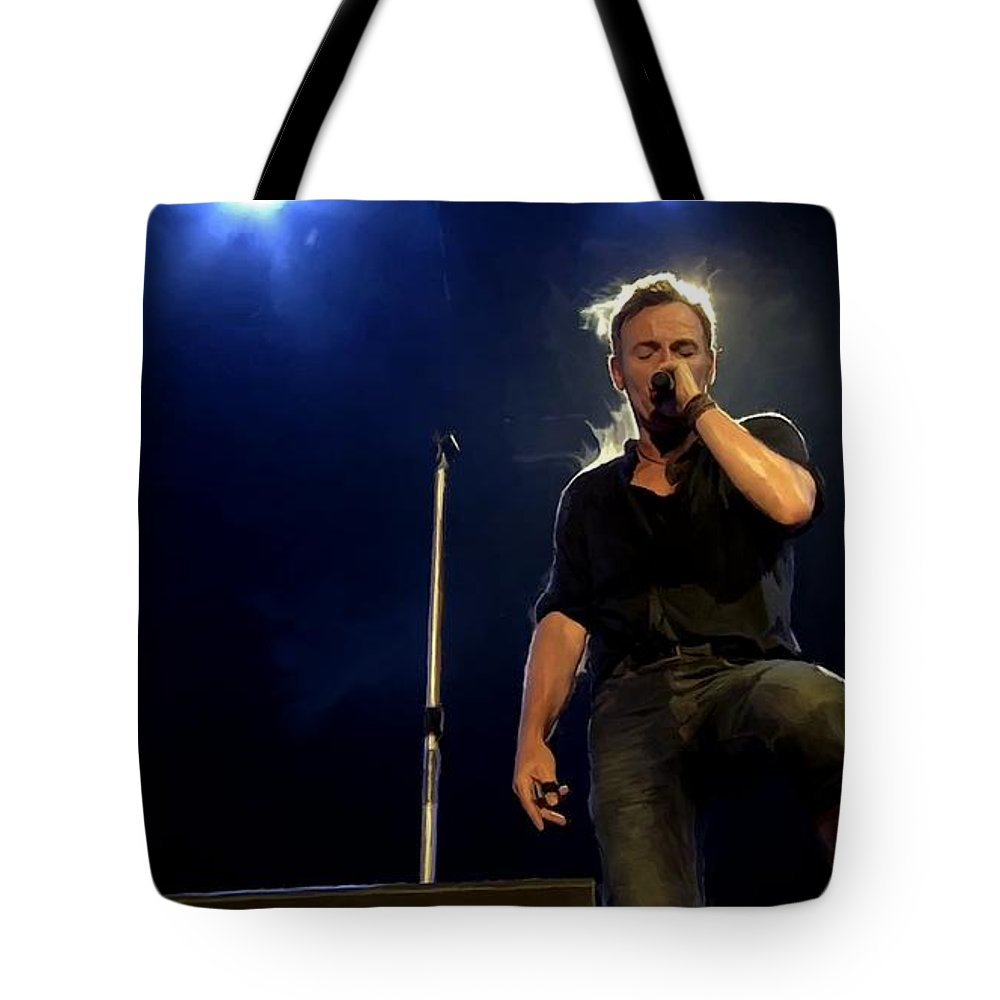 Bruce Springsteen Tote Bag featuring the digital art Bruce Springsteen Performing The River At Glastonbury In 2009 - 1 by Gabriel T Toro