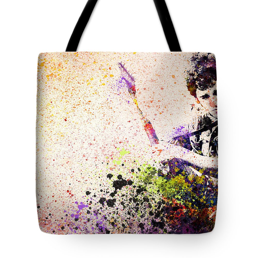 Bruce Springsteen Tote Bag featuring the painting Bruce Springsteen Splats 2 by Bekim M