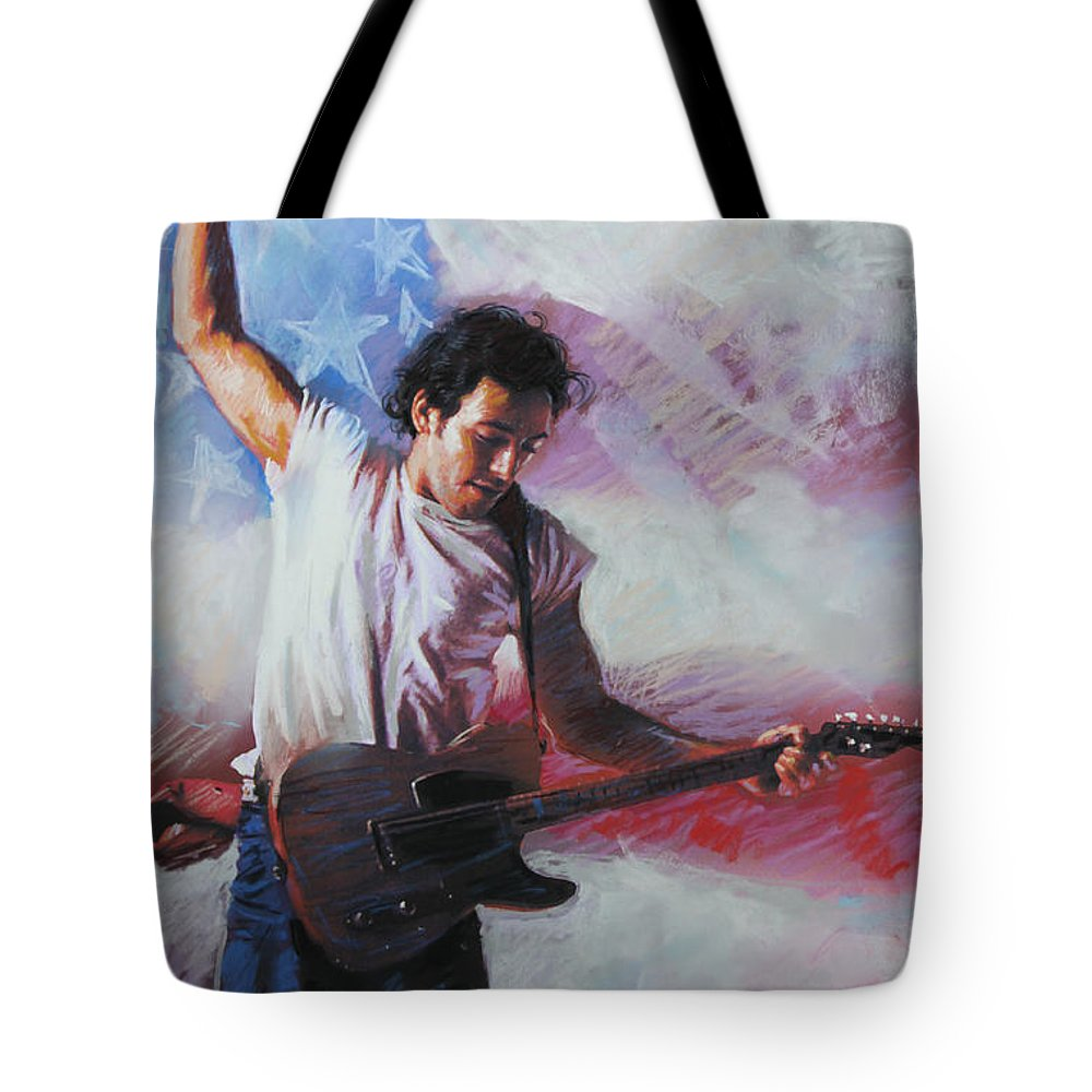 Singer Tote Bag featuring the mixed media Bruce Springsteen The Boss by Viola El