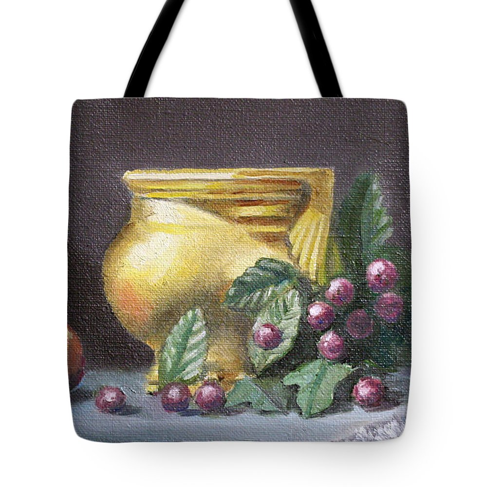 Still Life Tote Bag featuring the painting Brushed Gold Vase by Sarah Parks