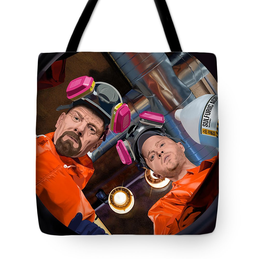 Aaron Paul Tote Bag featuring the digital art Bryan Cranston as Walter White and Aaron Paul as Jesse Pinkman @ TV serie Breaking Bad by Gabriel T Toro