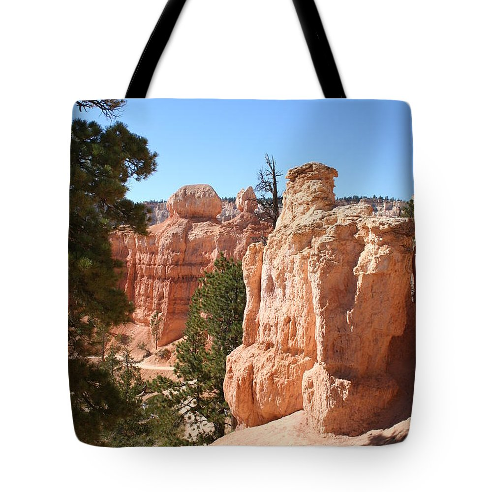 Canyon Tote Bag featuring the photograph Bryce Canyon Red Rocks by Christiane Schulze Art And Photography