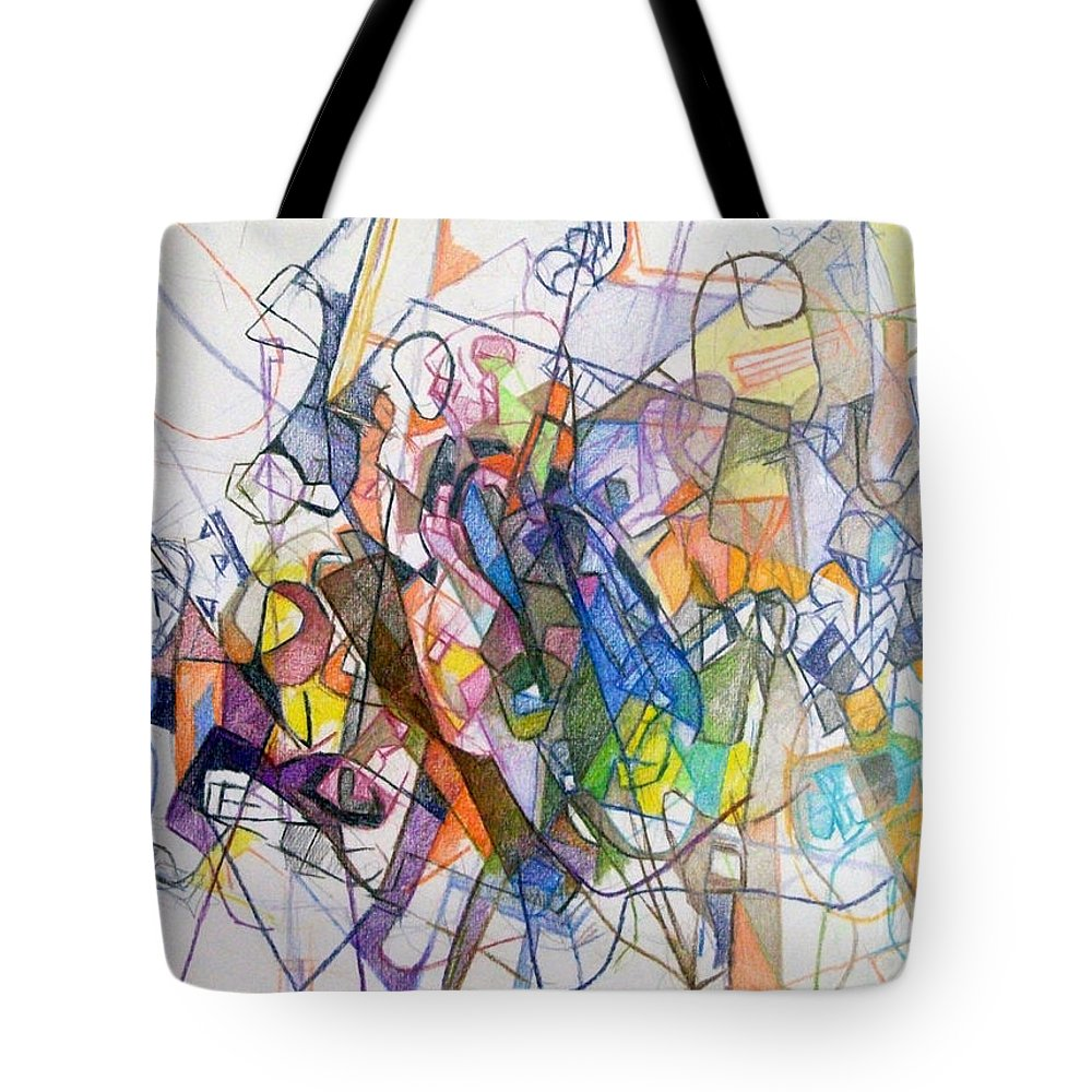 Torah Tote Bag featuring the drawing bSeter Elyon 23 by David Baruch Wolk