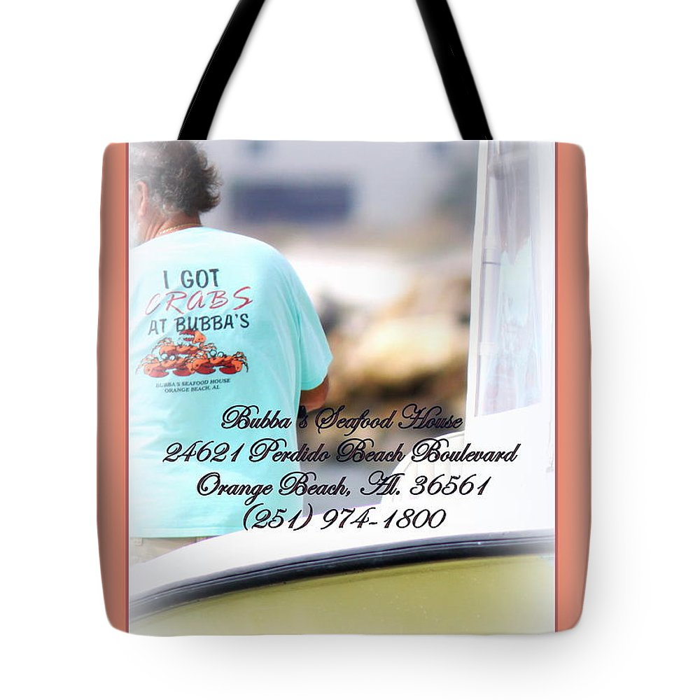 Vacation Tote Bag featuring the photograph Bubbas Seafood House - Crabs by Travis Truelove