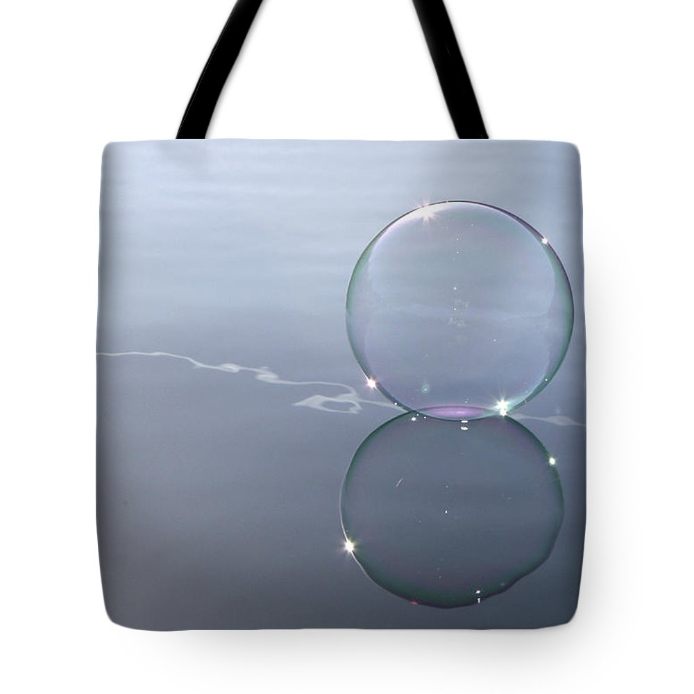 Line Tote Bag featuring the photograph Bubble On The Line by Cathie Douglas