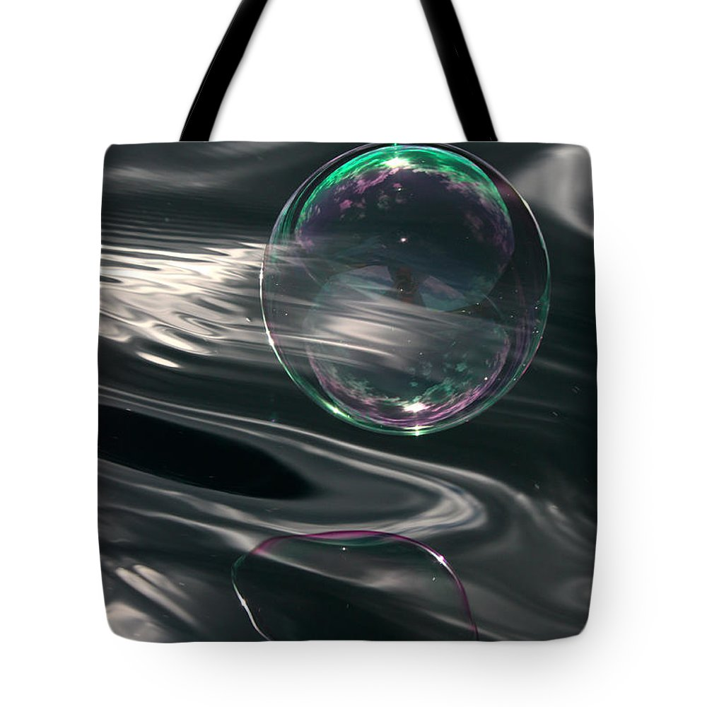 Bubble Tote Bag featuring the photograph Bubble Over Black Waters by Cathie Douglas