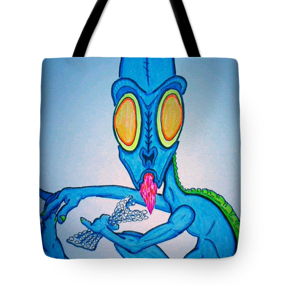 Justin Tote Bag featuring the drawing Bubble Wrap Monster by Justin Moore