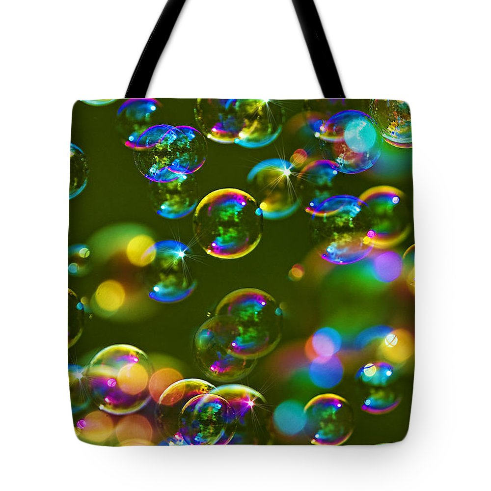 Abstract Tote Bag featuring the photograph Bubbles Bubbles And More Bubbles by Marcia Colelli