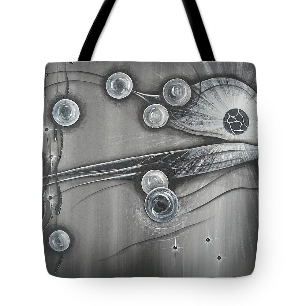 Bubbles Tote Bag featuring the painting Bubbles In Grey by Krystyna Spink