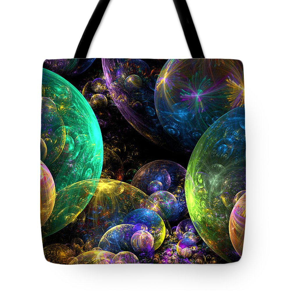 Abstract Tote Bag featuring the digital art Bubbles Upon Bubbles by Peggi Wolfe