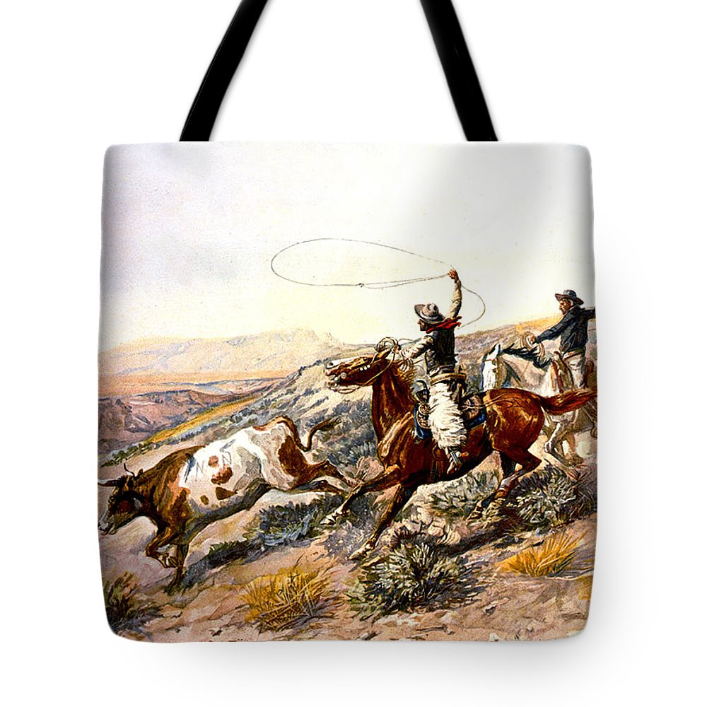 Charles Russell Tote Bag featuring the digital art Buccaroos by Charles Russell