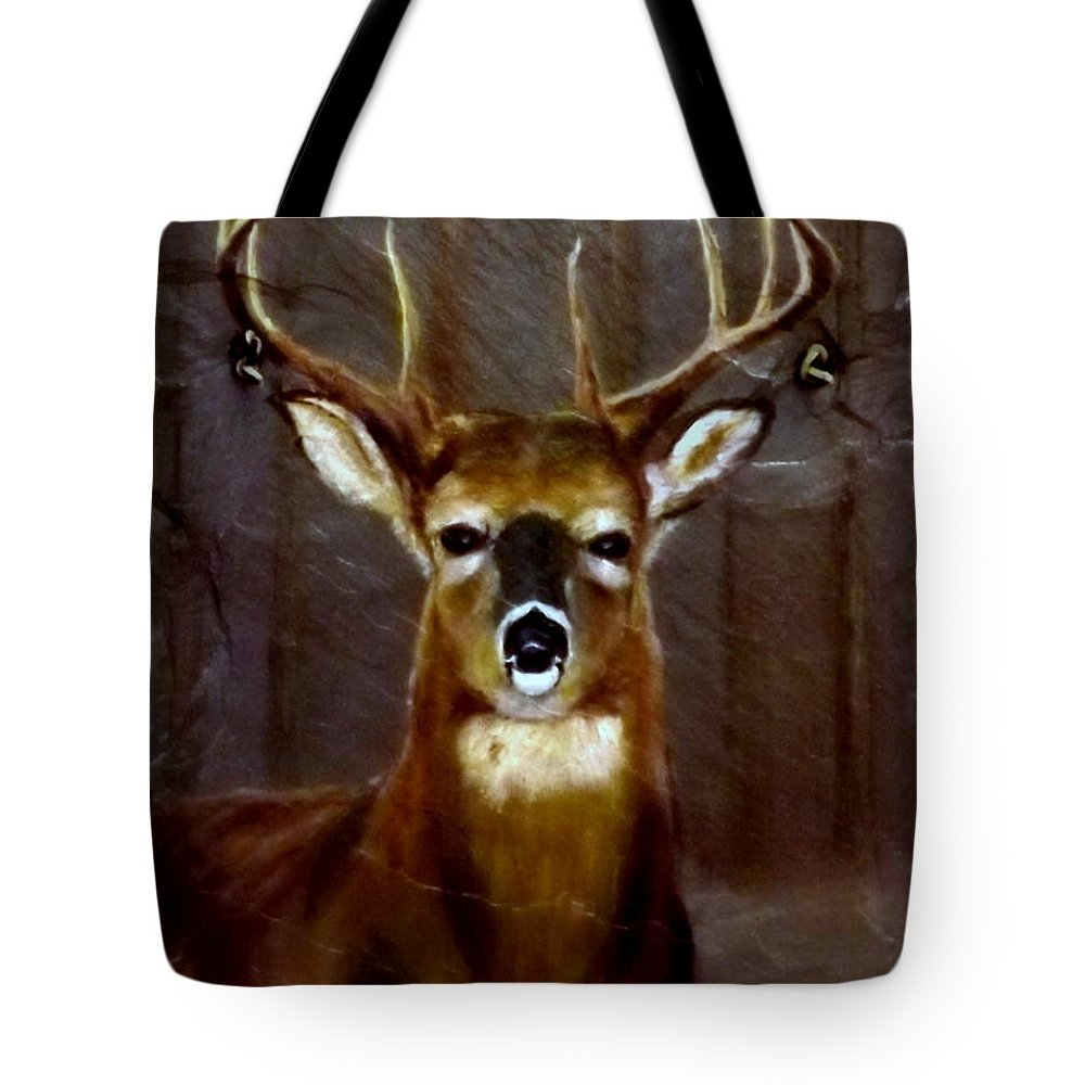 Buck Tote Bag featuring the painting Buck On Slate by Gino Didio