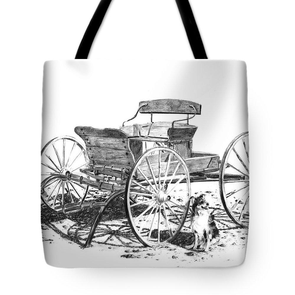 Wagon Tote Bag featuring the drawing Buckboard by John Dougan