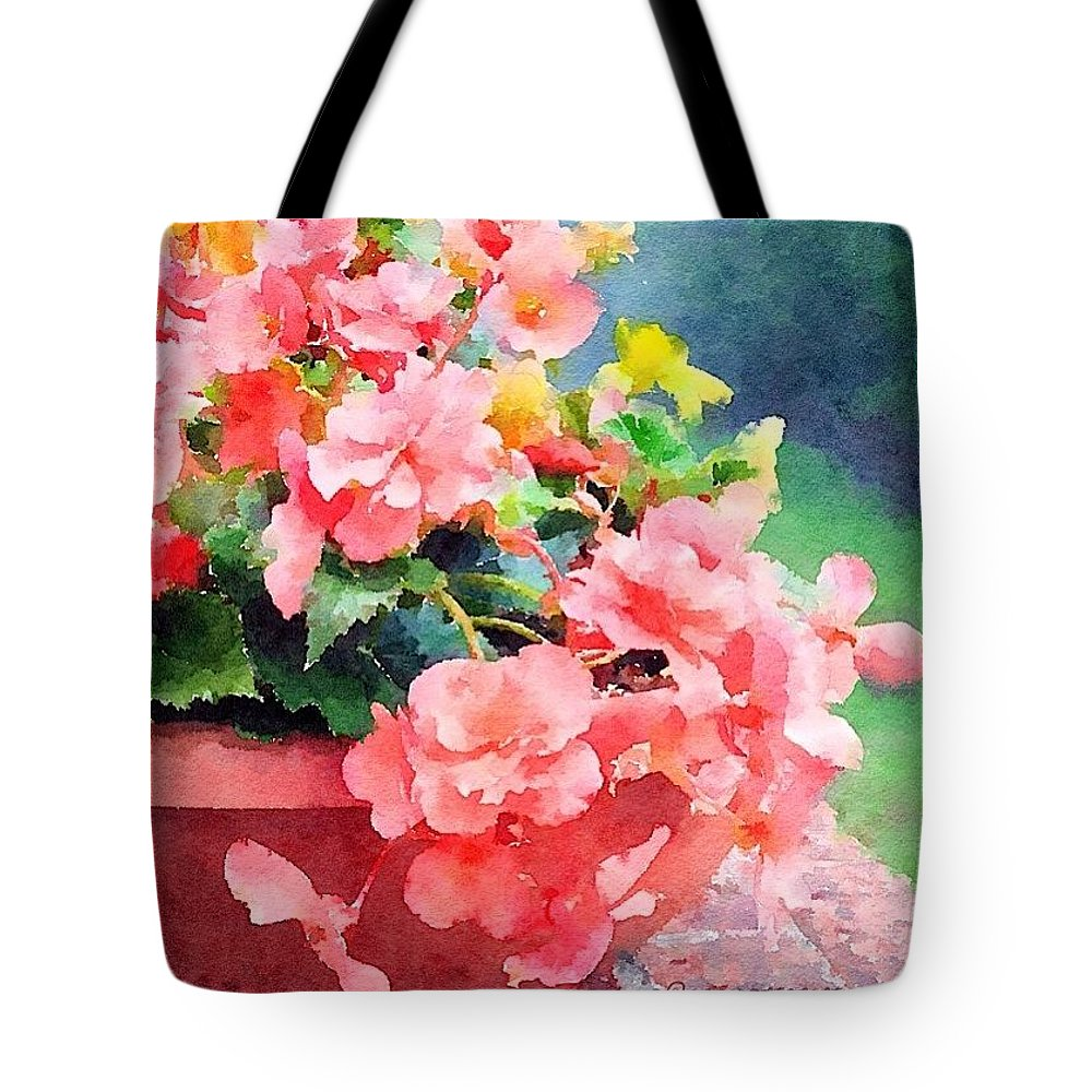 Bucket Tote Bag featuring the photograph Bucket O Begonias by Anna Porter