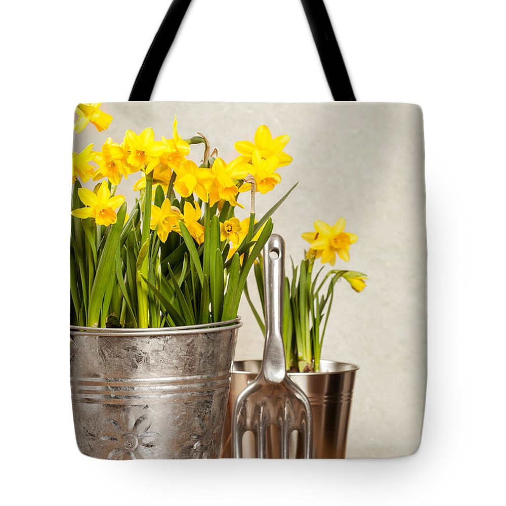 Spring Tote Bag featuring the photograph Buckets Of Daffodils by Amanda Elwell
