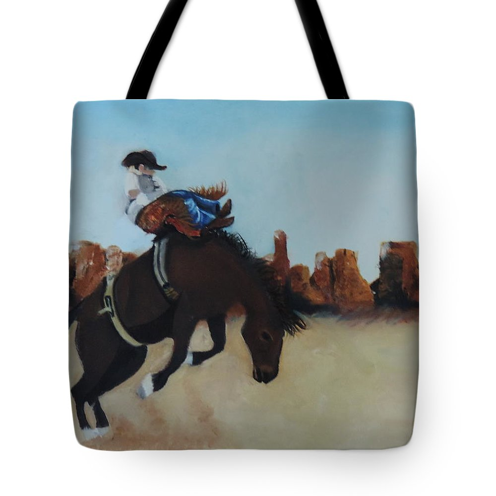 Horse Tote Bag featuring the painting Bucking Bronco by Terry Lewey