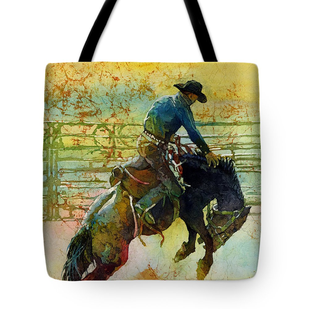 Bronc Tote Bag featuring the painting Bucking Rhythm by Hailey E Herrera