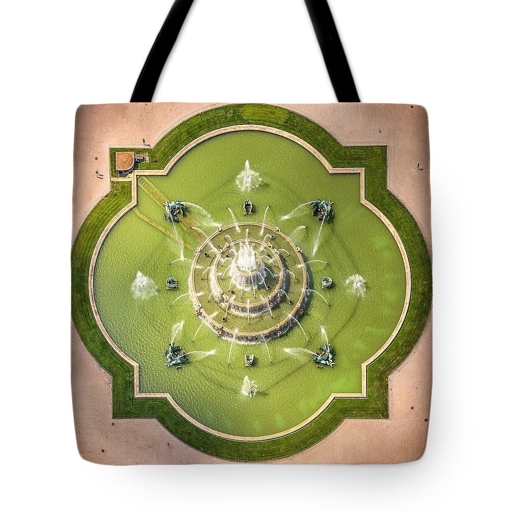 3scape Tote Bag featuring the photograph Buckingham Fountain From Above by Adam Romanowicz