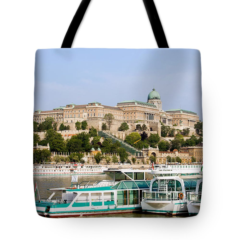 Budapest Tote Bag featuring the photograph Buda Castle And Boats On Danube River by Artur Bogacki