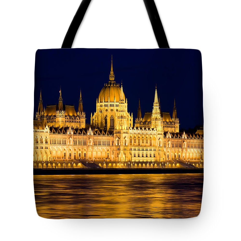 Budapest Tote Bag featuring the photograph Budapest Parliament At Night by Artur Bogacki
