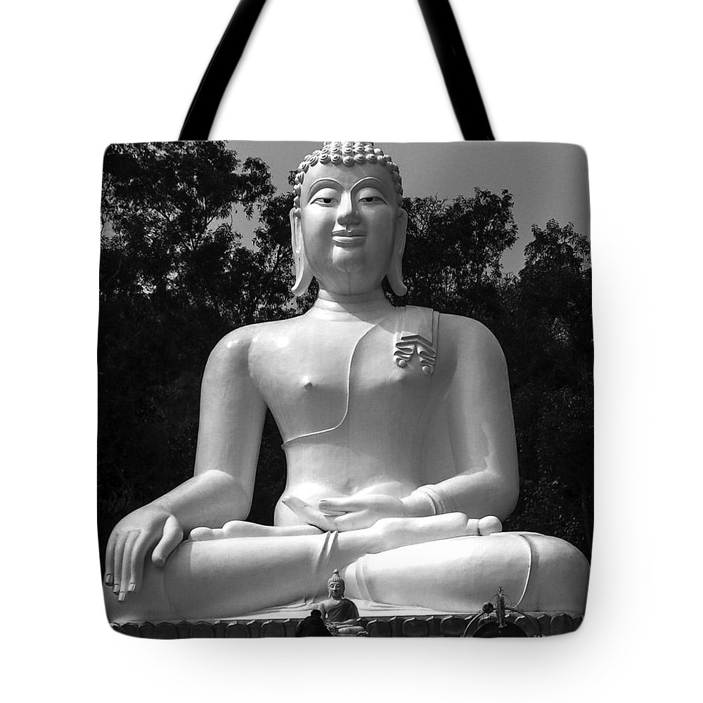 Black& White Tote Bag featuring the photograph Buddha by Lovejoy Creations