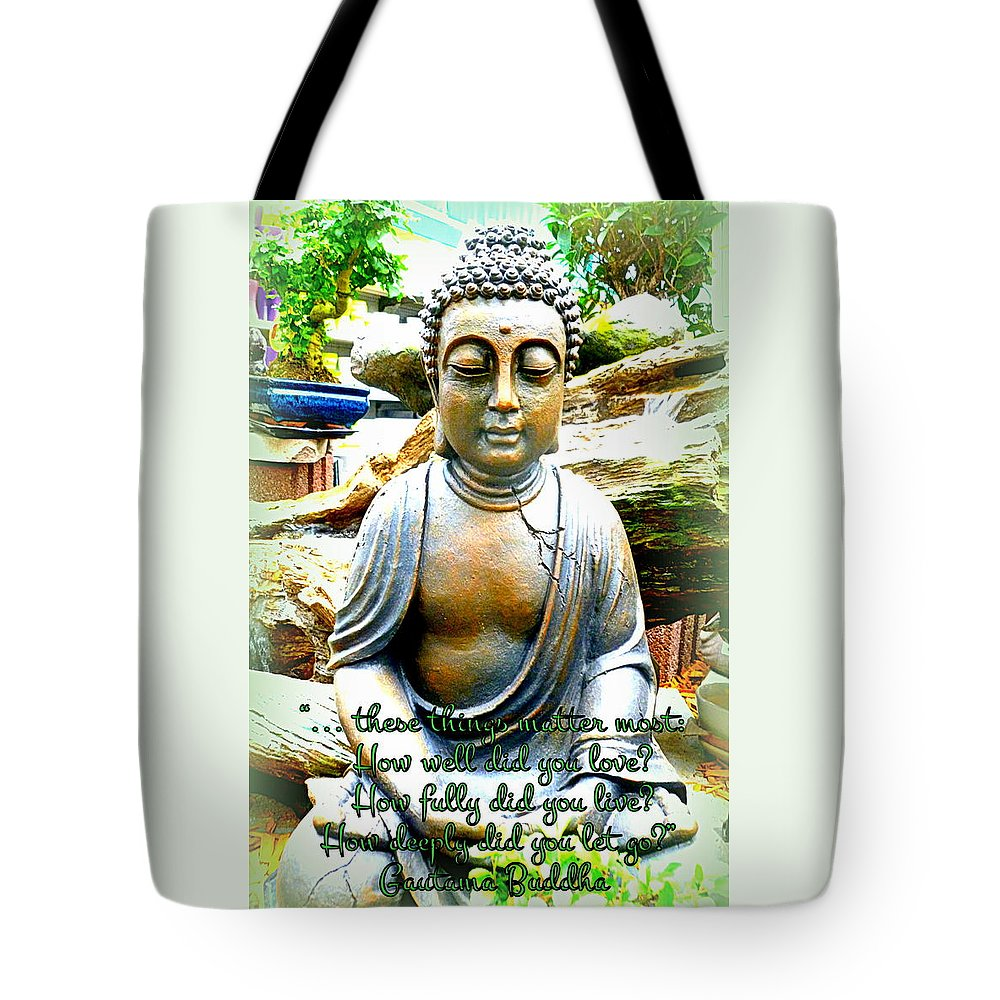 Buddha Tote Bag featuring the photograph Buddha Quotes by The Creative Minds Art and Photography