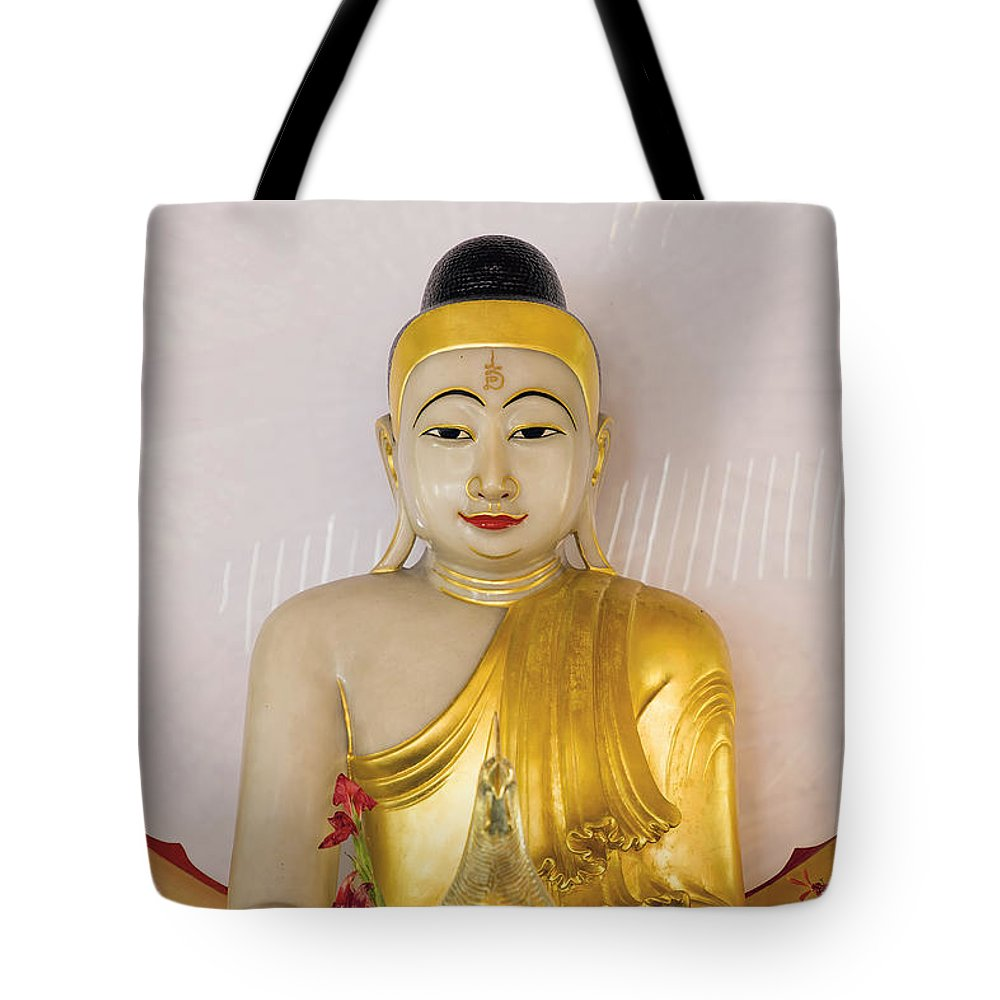 Buddha Tote Bag featuring the photograph Buddha Statue In Thailand Temple Altar by Jit Lim