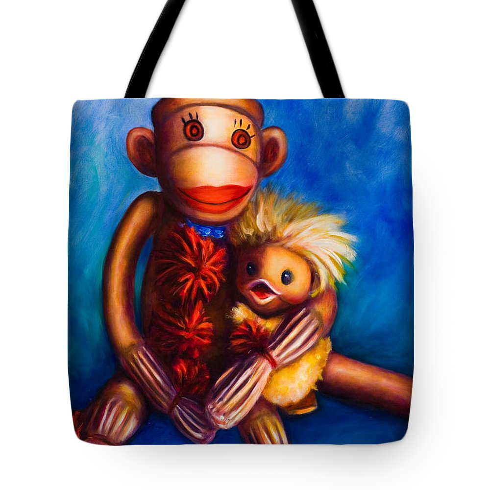 Sock Monkeys Brown Tote Bag featuring the painting Buddies by Shannon Grissom