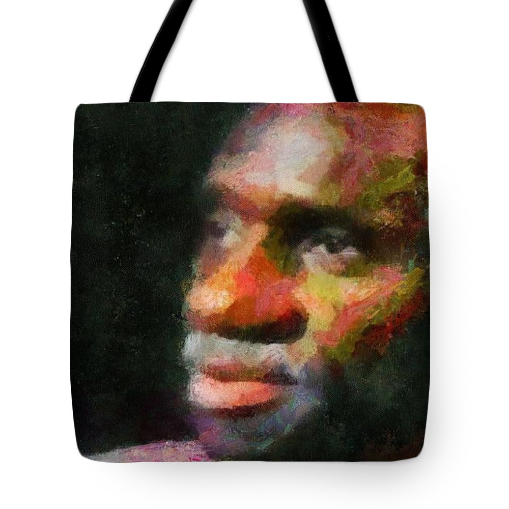 Digital Tote Bag featuring the digital art Buddy In Thought by Carol Sullivan