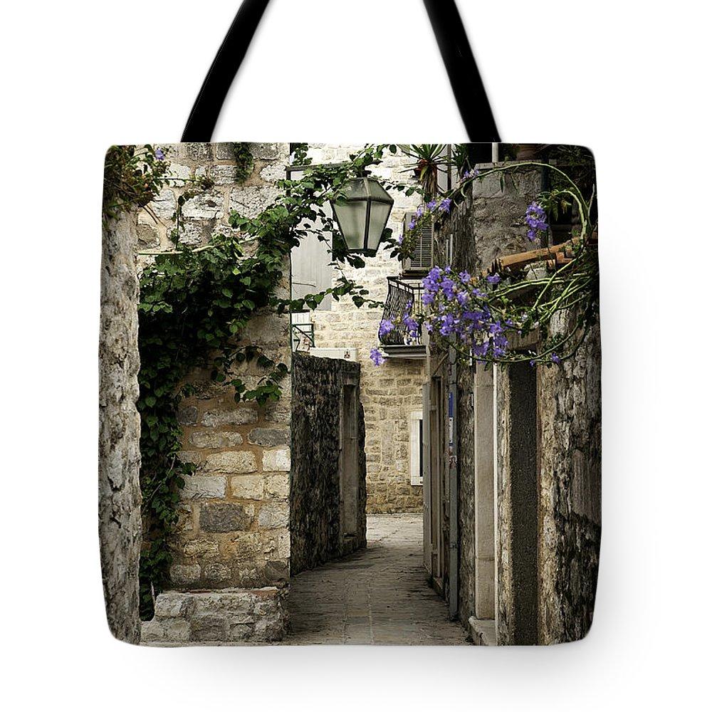 Montenegro Tote Bag featuring the photograph Budva Old Town Street Montenegro by Jacek Malipan