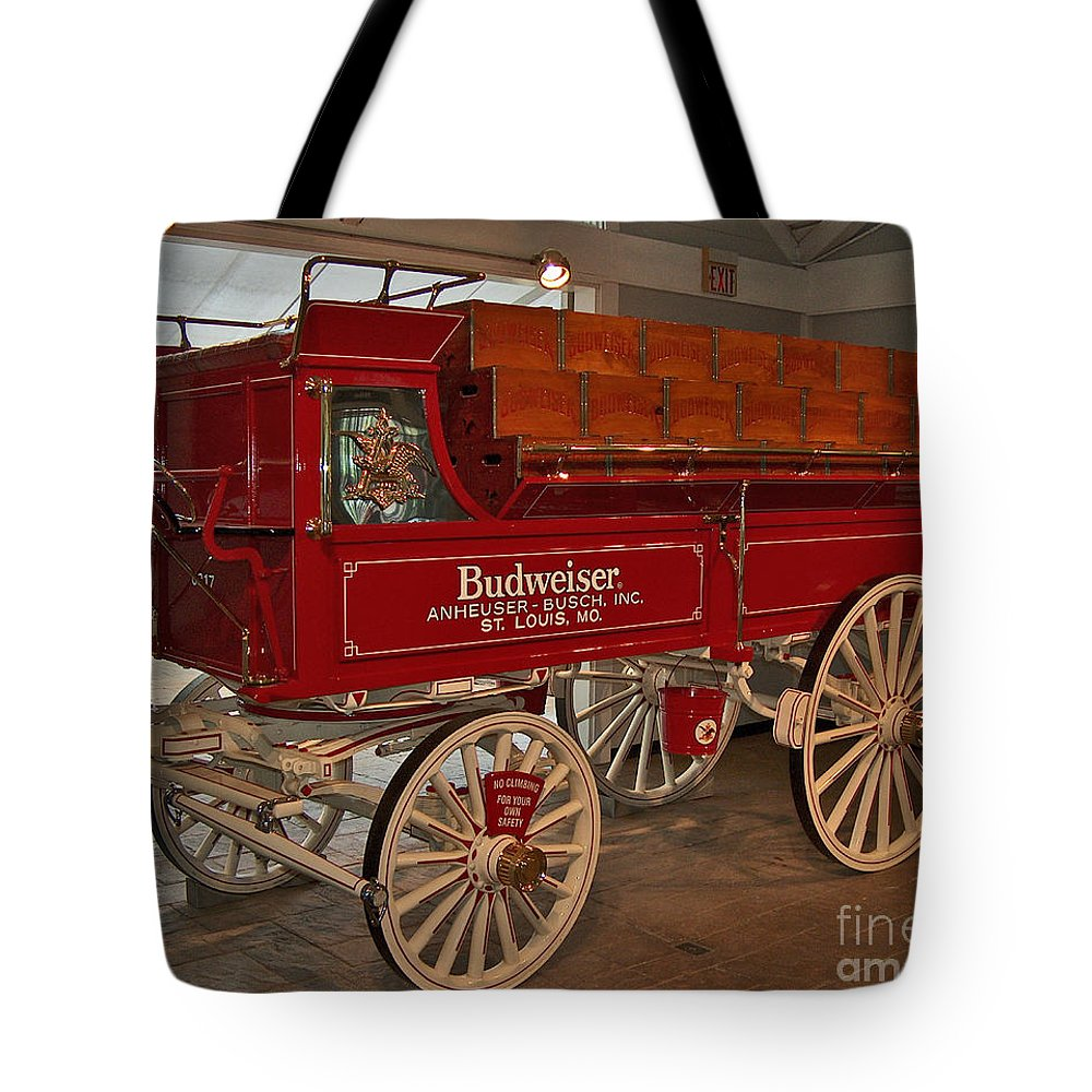 Budweiser Tote Bag featuring the photograph Budweiser Anheuser Busch Wagon by Barb Dalton