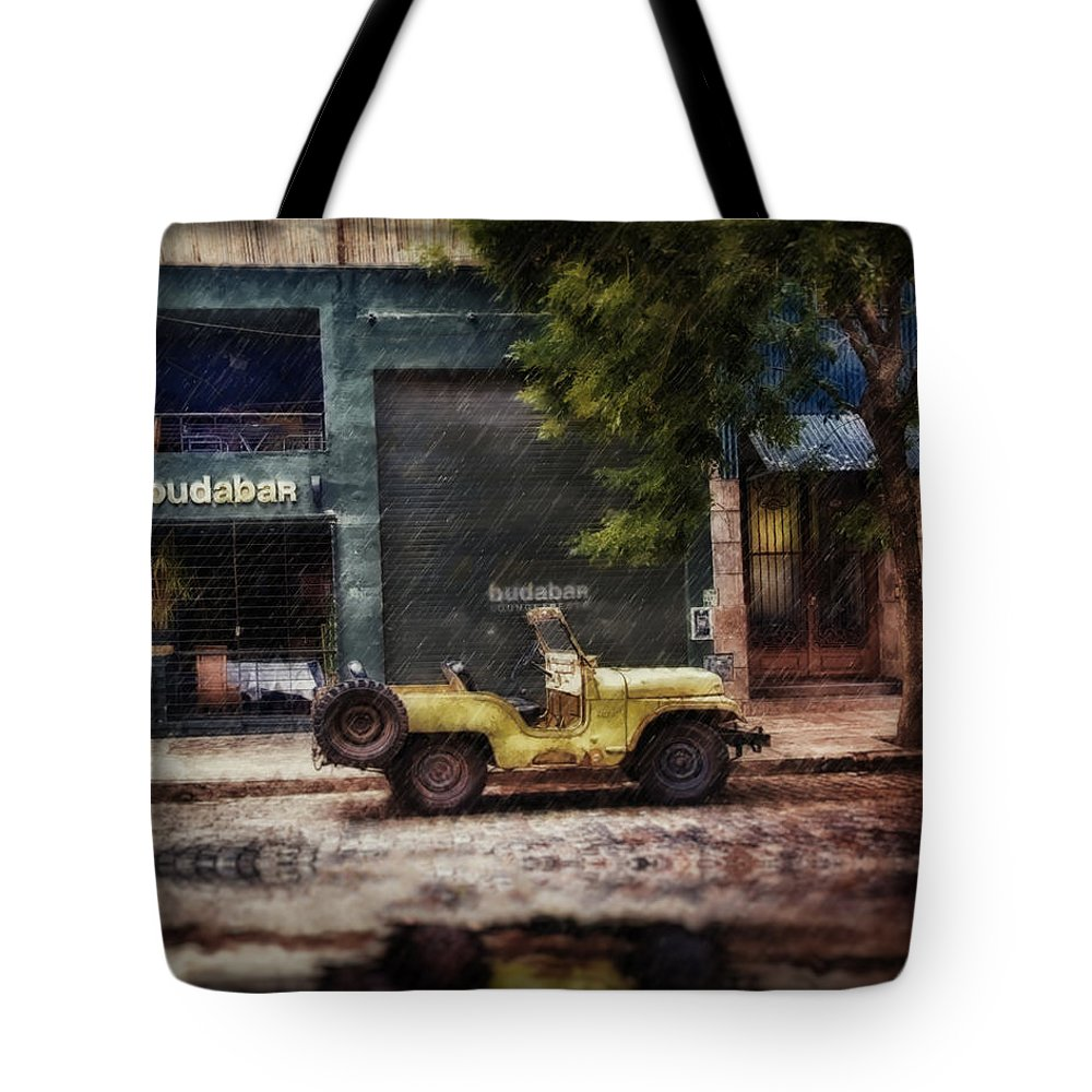 Jeep Tote Bag featuring the digital art Buenos Aires Jeep Under The Rain by Diane Dugas
