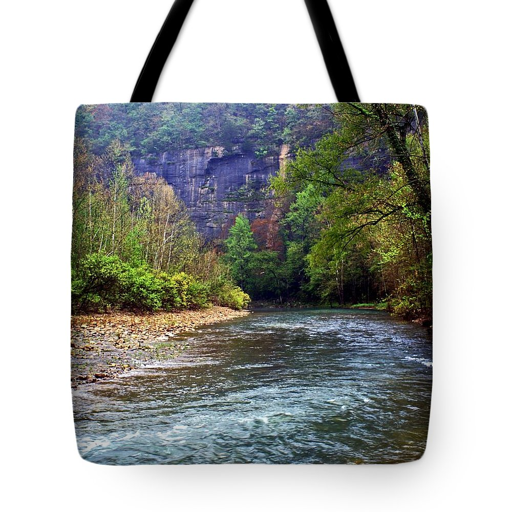 Buffalo National River Tote Bag featuring the photograph Buffalo River Downstream by Marty Koch