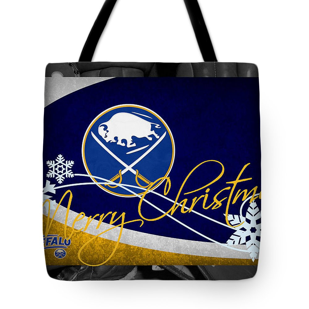 Sabres Tote Bag featuring the photograph Buffalo Sabres Christmas by Joe Hamilton